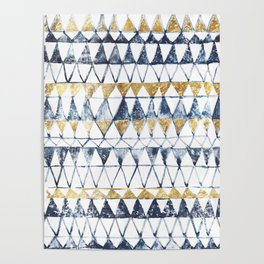 Watercolor Indigo Blue Gold Triangle Tribal Pattern Poster