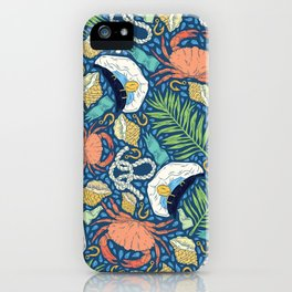 Cap and crab with seashells on water drops iPhone Case