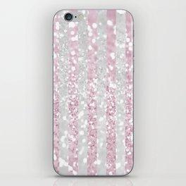 Elegant pink white faux glitter stripes pattern  iPhone Skin