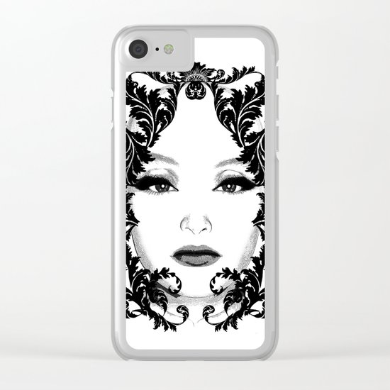 Black and white floral face ornament Clear iPhone Case
