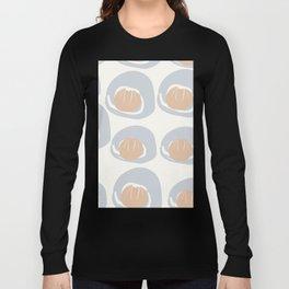 Dusty Blue Grey Terracotta Pattern Long Sleeve T-shirt