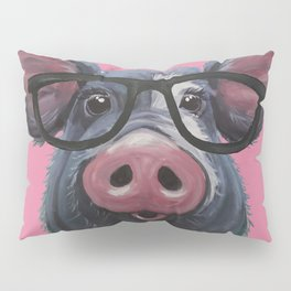 Pig with glasses art, Colorful pig art Pillow Sham