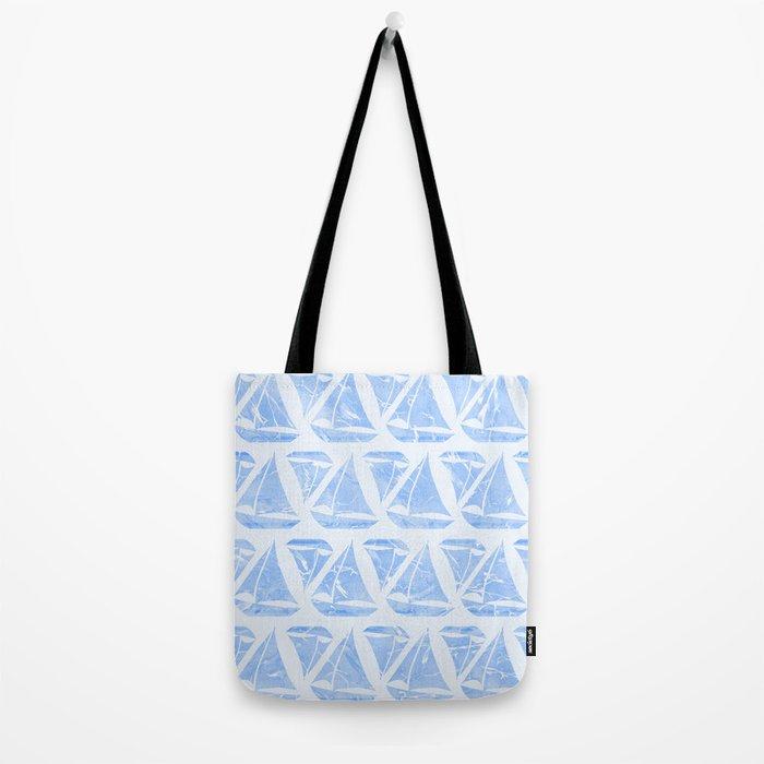Blue Sailing Boats Water Pattern Tote Bag