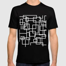 Geometric Cubic Line Pattern Black And White T-shirt