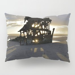 Wreck of the Peter Iredale at sunset Pillow Sham