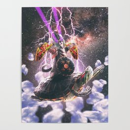Lazer Warrior Space Cat Riding Turtle Eating Taco Poster