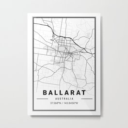 Ballarat Light City Map Metal Print