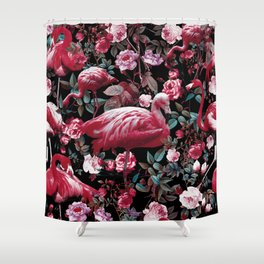 Floral and Flamingo VIII pattern Shower Curtain