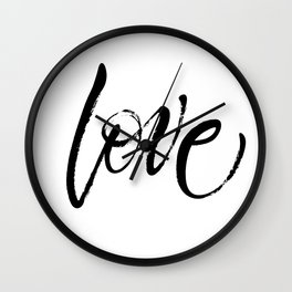 Love. Dry brush lettering. St.Valentine's Day message. Modern expressive calligraphy Wall Clock