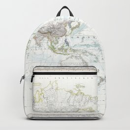 World map wall art 1856 dorm decor mappemonde from dutch Backpack