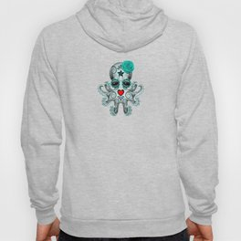Teal Blue Day of the Dead Sugar Skull Baby Octopus Hoody