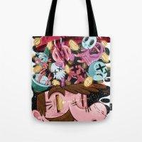 super mario Tote Bags featuring Super Mario by James Burlinson