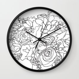 Bouquet_3BW Wall Clock