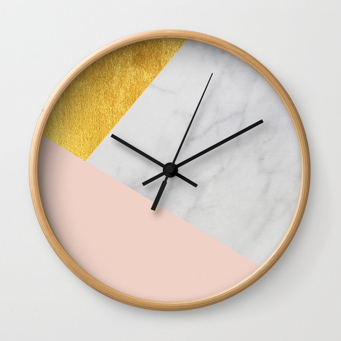 Carrara marble with gold and Pantone Pale Dogwood color Wall Clock