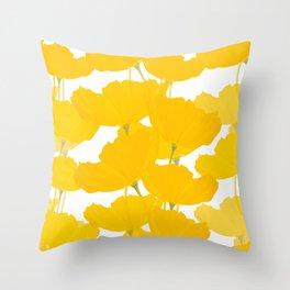 Yellow Mellow Poppies On A White Background #decor #society6 #buyart Throw Pillow