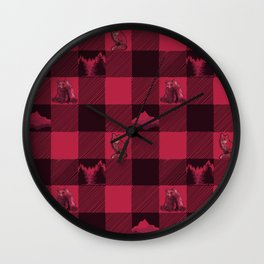 Fox and Bear Plaid #2 RED Wall Clock