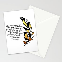 Gold Feather & Psalm 91:4 Stationery Cards