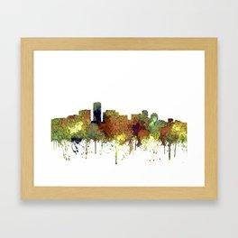 Long Beach, California Skyline - Safari Buff Framed Art Print