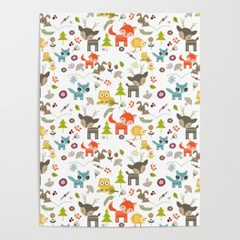 Cute Woodland Creatures Pattern Poster