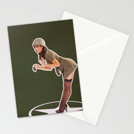 """Foxhole"" - The Playful Pinup - Grenade Military Pin-up by Maxwell H. Johnson Stationery Cards"