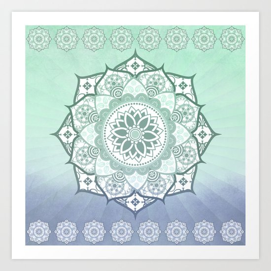 Aqua Essence Green Blue Mandala Design Art Print