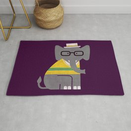 Rodney the preppy elephant Rug