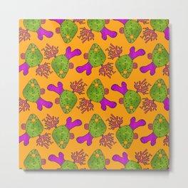 The Retro Coral Pattern Metal Print