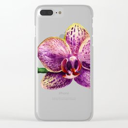 Watercolor image of purple orchid Clear iPhone Case