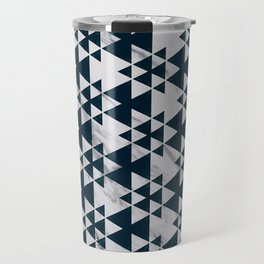 Southwestern Triangle Design over White Grey Marble Travel Mug