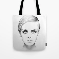 Twiggy Minimal Portrait Tote Bag