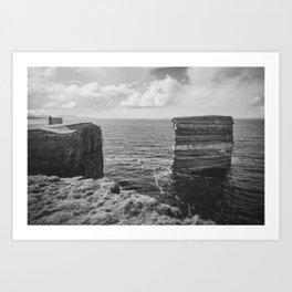 Dun Briste II Black and White Art Print