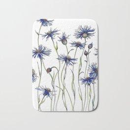 Blue Cornflowers, Illustration Bath Mat