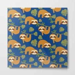 Cute Sloths on Blue, Baby Sloth Hanging Metal Print