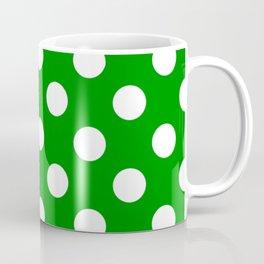 Islamic green - green - White Polka Dots - Pois Pattern Coffee Mug