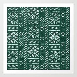 Line Mud Cloth // Brunswick Green Art Print