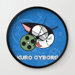 kuro cyborg cat Wall Clock