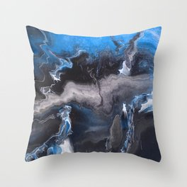 Blue Lightning Throw Pillow