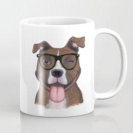 Hipster Pit Bull Coffee Mug