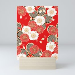 Japanese Vintage Red Black White Floral Kimono Pattern Mini Art Print