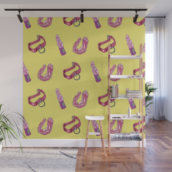 Sex Toy Pattern Yellow Wall Mural