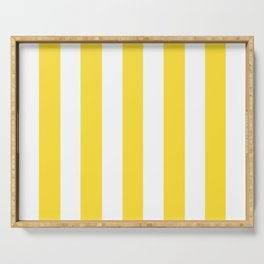 Banana yellow - solid color - white vertical lines pattern Serving Tray