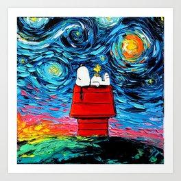 snoopy peanuts starry night Art Print