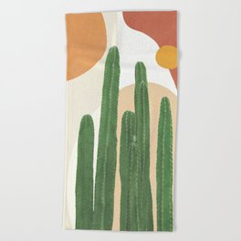 Abstract Cactus I Beach Towel