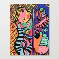Lady in the Mirror Canvas Print
