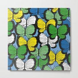 Green yellow blue butterflies Metal Print