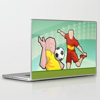 soccer Laptop & iPad Skins featuring Soccer game by Caetanorama Art Studio