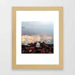 Three Beach Glass Cairns Framed Art Print