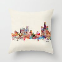 detroit Throw Pillows featuring detroit michigan by bri.buckley