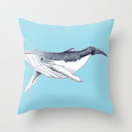 Baby humpback whale blue for boys and baby room Throw Pillow