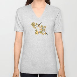 Bird in Ginkgo Tree Unisex V-Neck